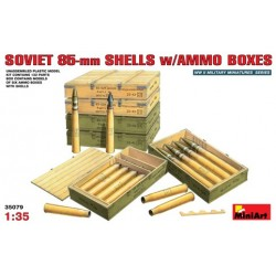 Soviet 85-mm shells w/ammo boxes