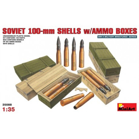 Soviet 100-mm shells w/ammo boxes
