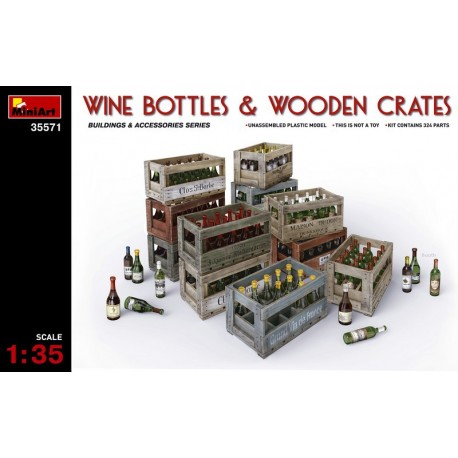 Wine bottles & wooden crates